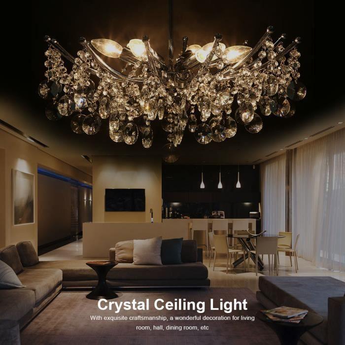 Lustres en Cristal ,Plafonnier 6 LED Lustre Lampe de Plafond Éclairage Lumière Cristal Suspendu pour Salle de Séjour HB041 -COO