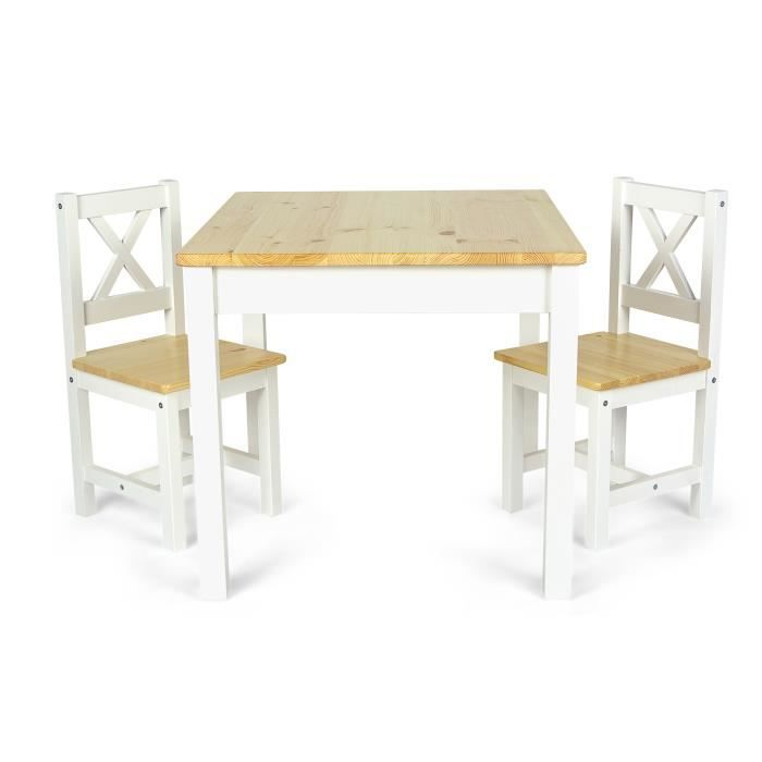 Le table table en bois au style scandinave POLA (blanc/pin)