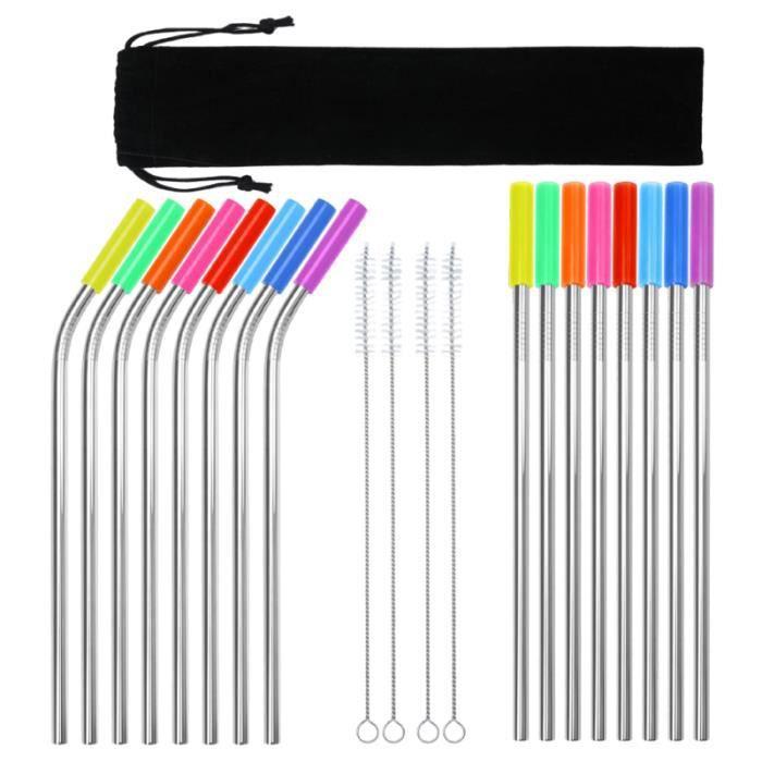 37 pièces pailles réutilisables portables durables pratiques en acier inoxydable pour la maison voyage à NON-DISPOSABLE STRAW