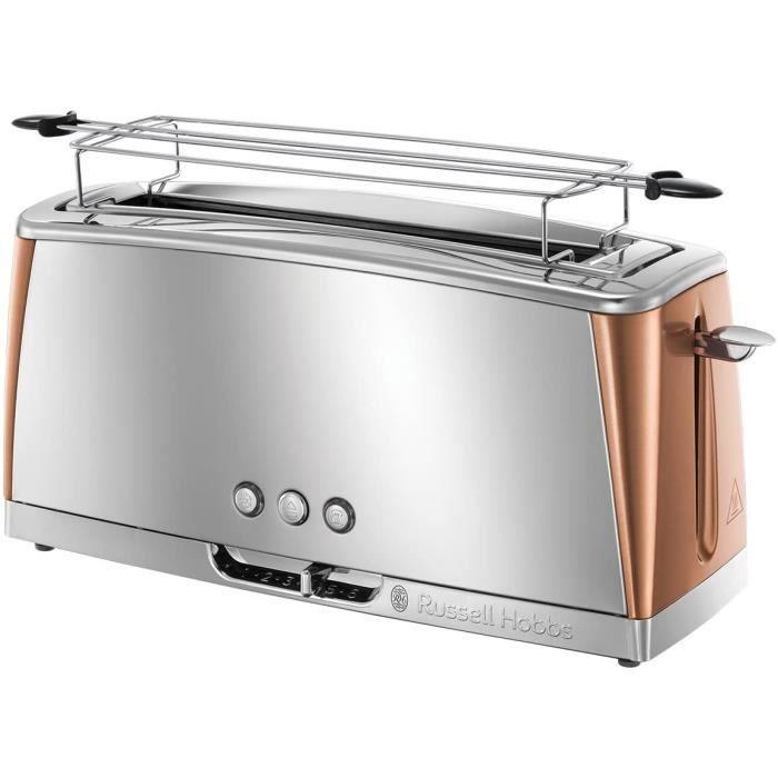 Toaster Grille-Pain, Spécial Baguette, Cuisson Rapide, Chauffe Viennoiserie - Cuivre 24310-56 Luna