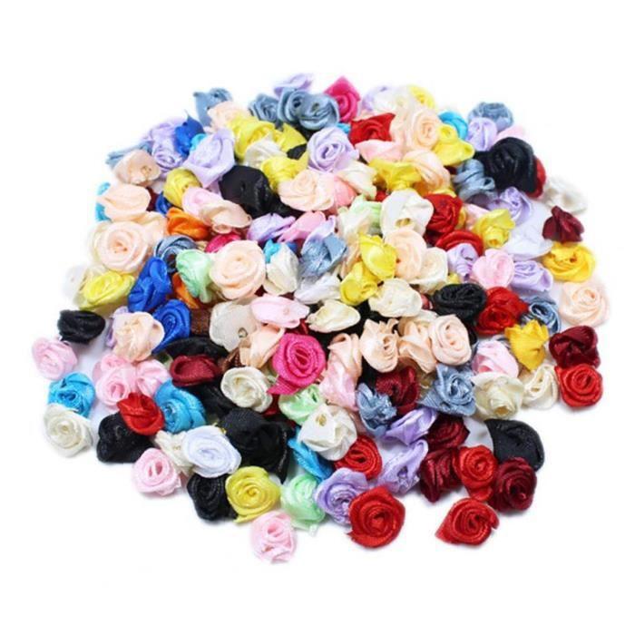 Artificielle Têtes Rose Tissus décoratifs Faux capitules Artisanat bricolage 100PCS colorés
