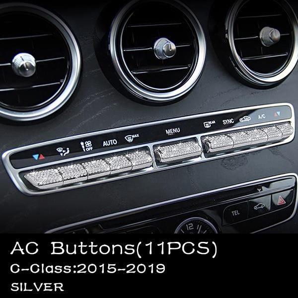 Décoration Véhicule,Pour Mercedes Benz Accessoires Classe C W204 W205 AMG Autocollant Bling Pièces Intérieures - Type 7Silver
