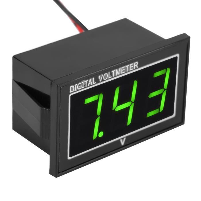 Garosa Voltmètre LED numérique 1 pc numérique 0,56 ″ affichage LED Voltmètre étanche DC Voltmètre Panneau (5-130 V, vert)