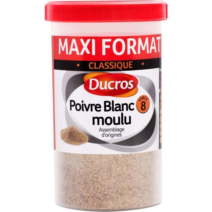 DUCROS Poivre blanc moulu nº 8 classique - Boite ménagère - 90 g