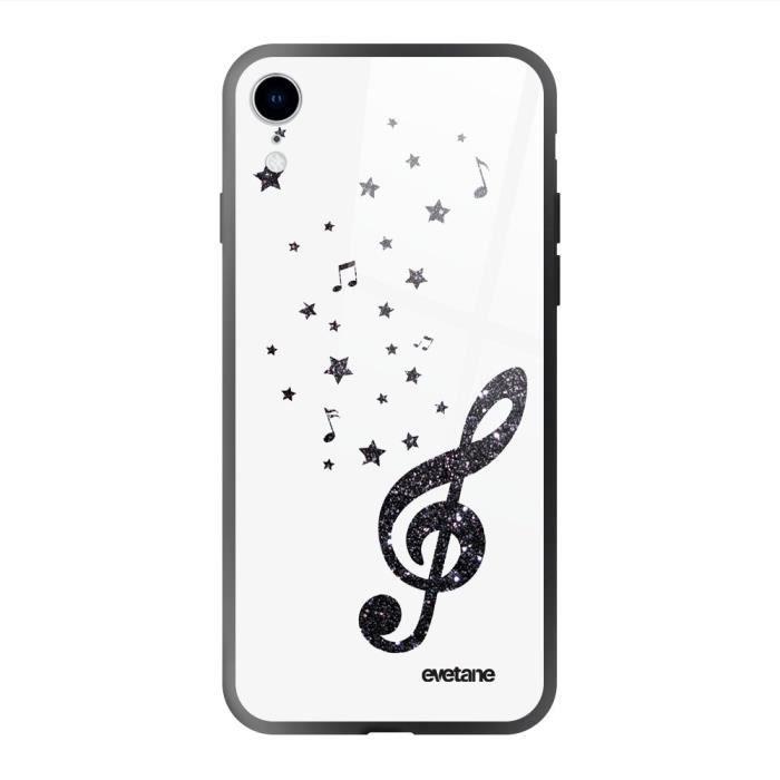 Coque en verre trempé pour iPhone Xr Note de Musique Ecriture Tendance et Design Evetane.