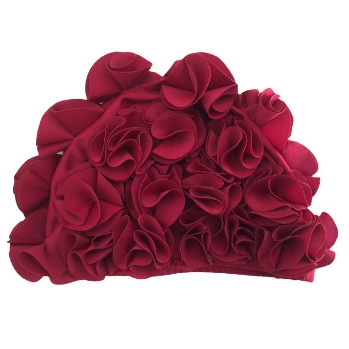 Bonnet de bain pour piscine Femme bonnets natation démêlant en décoration de fleurs confortable et élastique waterproof Bordeaux