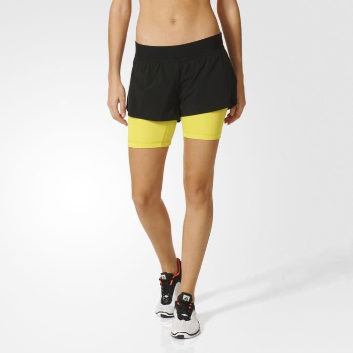 Adidas 2-In-1 Gym Short De Sport Running Fitness Noir Jaune Femme