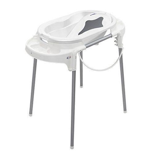 rotho babydesign Ensemble Top Line Baignoire Transat de Bain Ergonomique Pied de Baignoire Tuyau de vidange Blanc