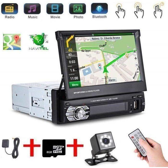 Autoradio Stéréo 1 DIN 7'' HD Écran Tactile Lecteur de Radio GPS Navigation Bluetooth avec 8G Carte+Caméra de Recul