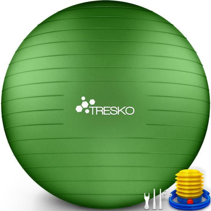 TRESKO Ballon Fitness Yoga Balle d'Exercice Antidérapant Balle Gymnastique avec Pompe 300 kg - avec pompe à air - Verte - 55cm