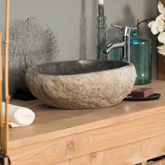 Vasque à poser en pierre naturelle galet de riv...