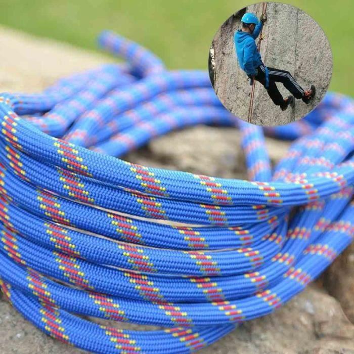 Escalade Corde Auxiliaire Statique bleu de Sécurité, Longueur: 10m Diamètre: 10mm