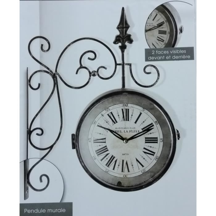 pendule murale originale style horloge de gare vintage et r tro recto et verso achat vente. Black Bedroom Furniture Sets. Home Design Ideas