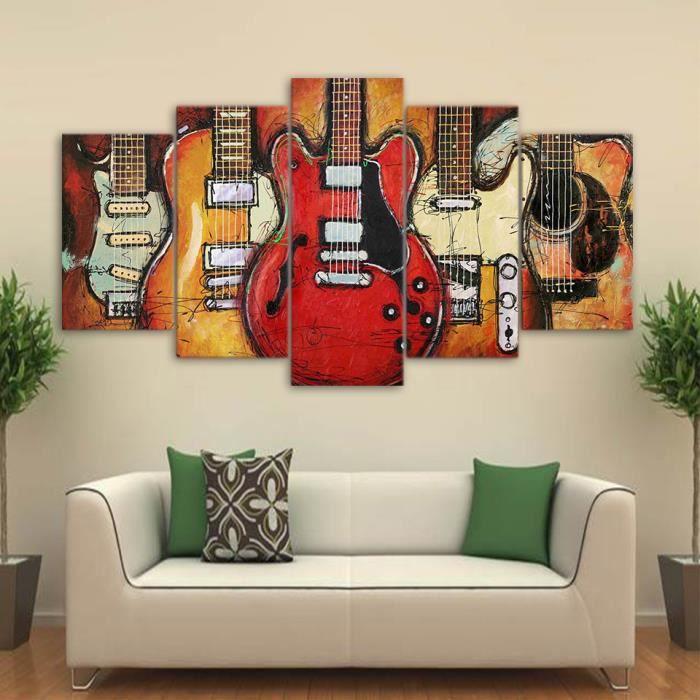 5 Panneaux Toile Imprimer Peinture Guitare Abstrait Wall Art Photos Pour Salon Sans Cadre Sans Etirement Achat Vente Tableau Toile Cdiscount