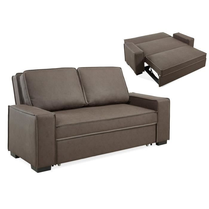 canap 3 places convertible tissu marron couchage 2 personnes achat vente canap sofa. Black Bedroom Furniture Sets. Home Design Ideas