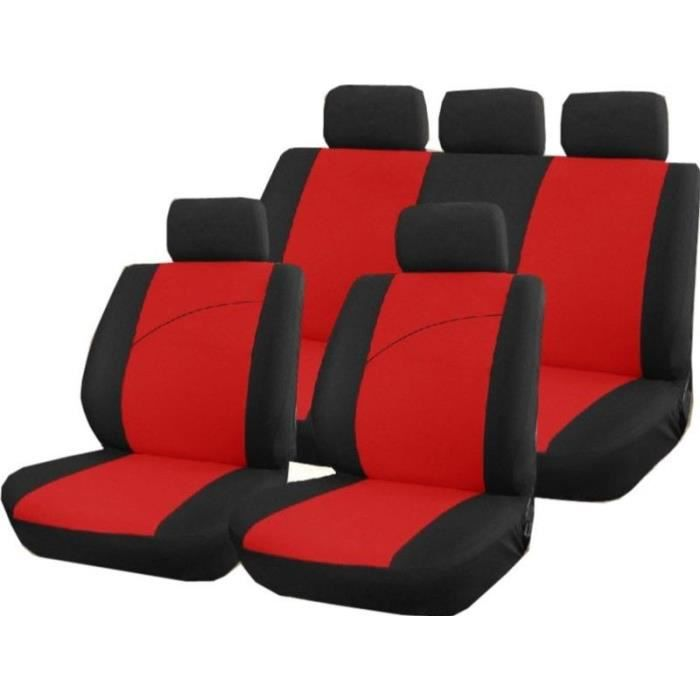 housse pour siege de voiture 9 pieces rouge et noir victoire compat airbags achat vente. Black Bedroom Furniture Sets. Home Design Ideas