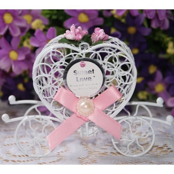 bote drages boite dragees carrosse metal ruban rose mariage ba - Boite Dragee Mariage