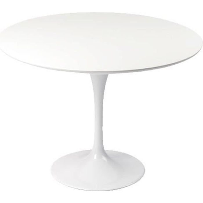 Table design ronde 110cm blanche tulipe achat vente for Table ronde blanche