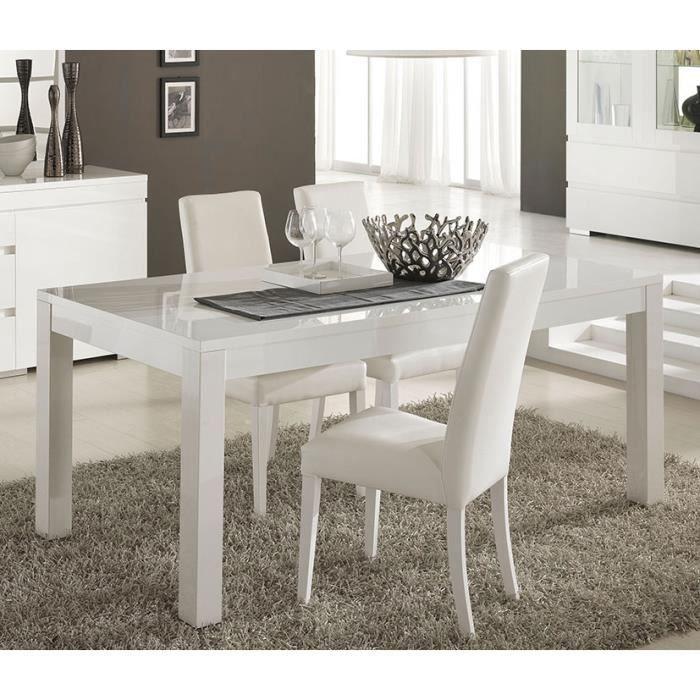 Table à manger blanc laqué design FLAVIE L 160 cm L 160 x 90 ...
