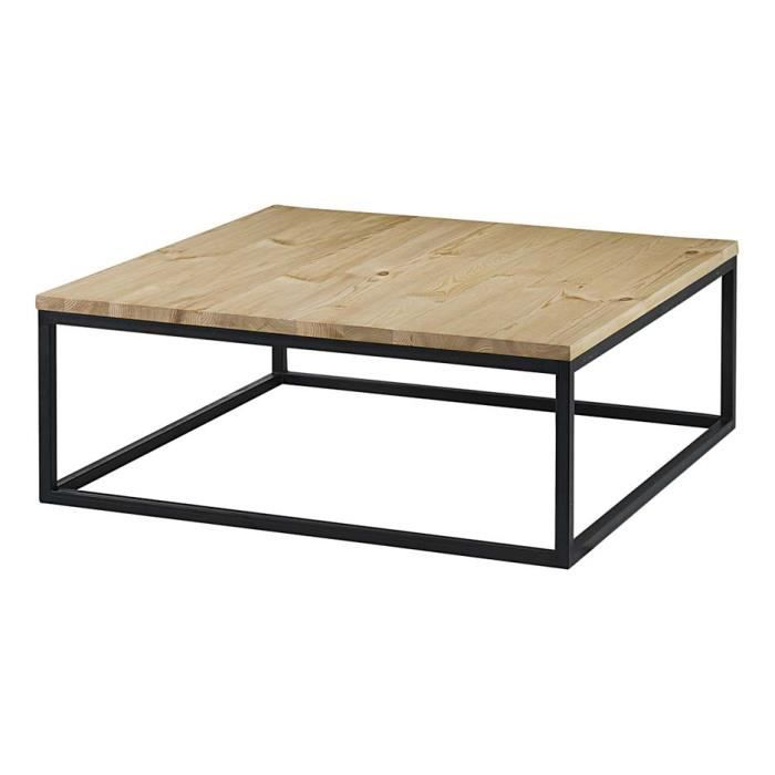 Table basse carr e pin massif brut et m tal 100 cm city achat vente table - Table basse carree metal ...