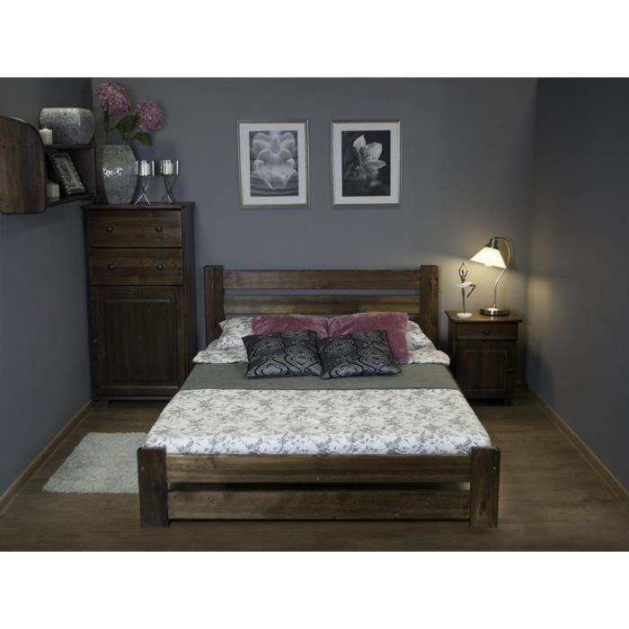 justhome kati lit en bois sommier lattes couleur noyer 160 x 200 cm achat vente lit. Black Bedroom Furniture Sets. Home Design Ideas