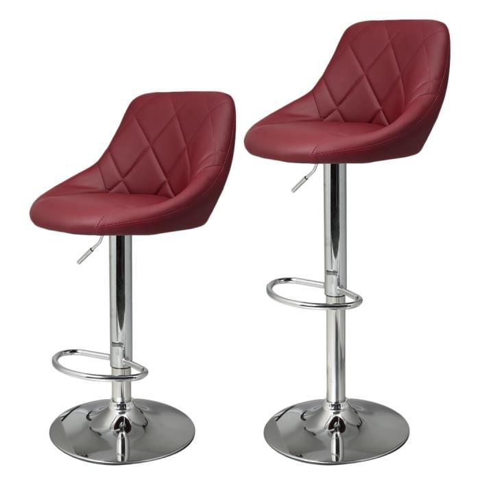 2pcs tabouret de bar nouvelle en cuir synth tique r glable - Tabouret de bar hauteur reglable ...
