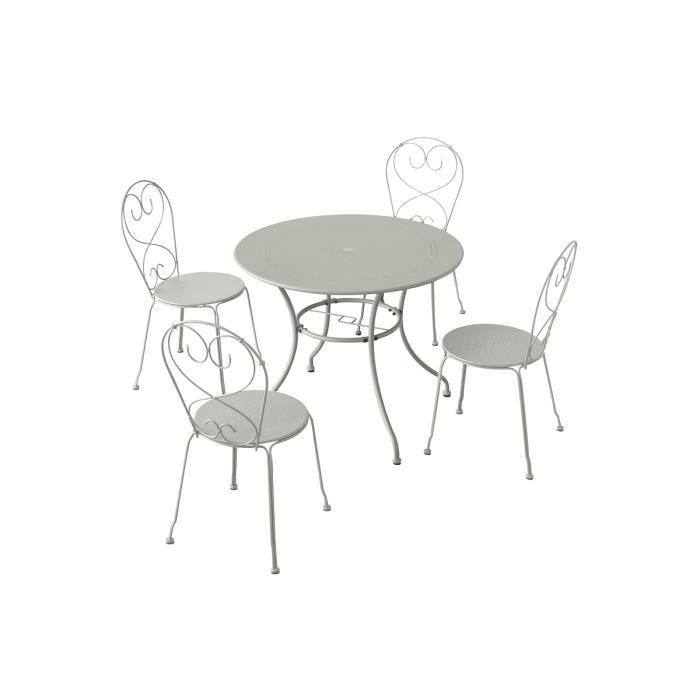 Table manuela ronde galet 4 places 95 x 71 cm achat for Table ronde 4 personnes