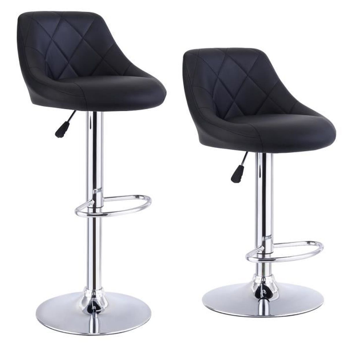Lot de 2 tabourets de bar pivotant hauteur r glable chaise for Achat chaise de bar