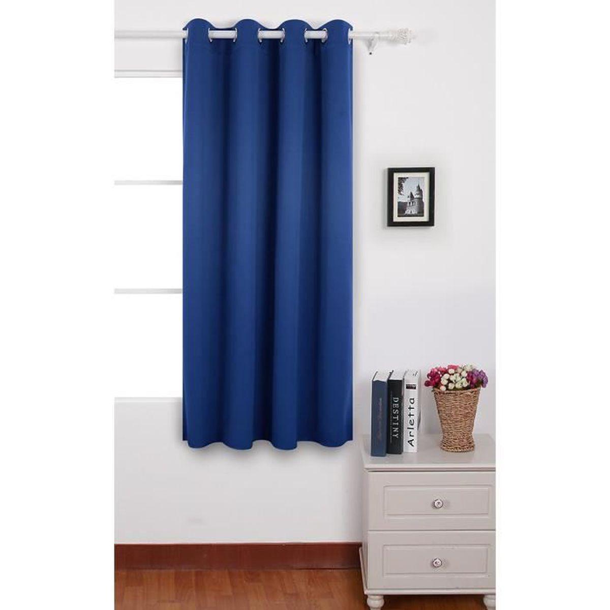 Rideau Porte D Entrée deconovo rideau occultant rideau porte d'entrée à oeillets 140x180cm  isolant thermique bleu roi