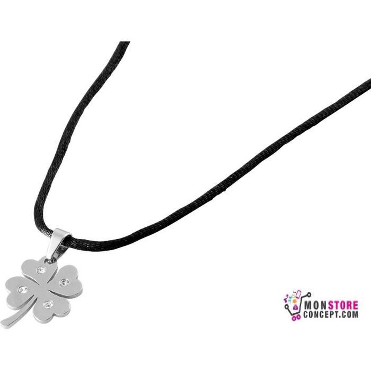 collier 46,5 cm avec pendentif trèfle à 4 feuilles porte bonheur