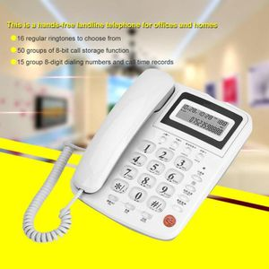 Téléphone fixe Téléphone de bureau à domicile blanc avec affichag