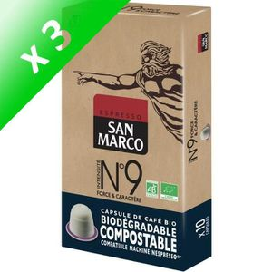CAFÉ Caps San Marco N° 9 Bio et Compostables x 10 (Lot