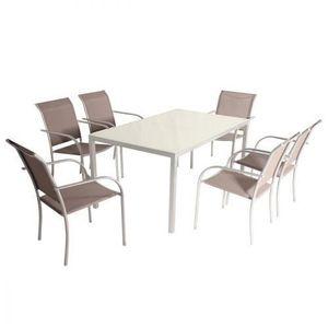 Ensemble de Jardin avec Table Metal Plateau Verre + 6 ...