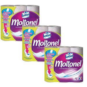 Lotus Moltonel 18 rouleaux papier toilette rose 3 épaisseurs doux et résistante
