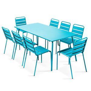 SALON DE JARDIN  Ensemble table de jardin et 8 chaises en métal Ble