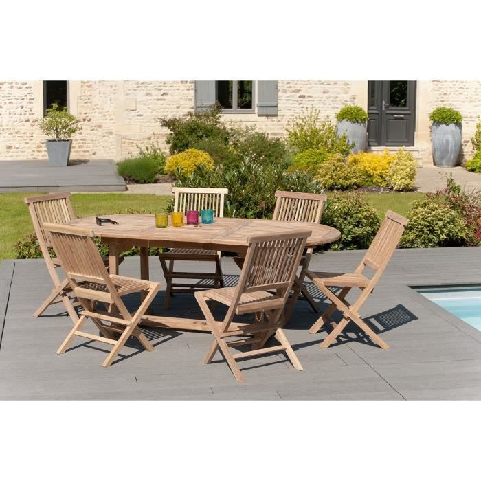 Ensemble en teck table extensible ovale 150 200 cm 6 for Salon de jardin phoenix