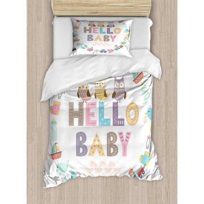 Drap Plat Lit Bebe Y2BZA Baby Shower double Taille housse de couette, Bonjour bébé Citation avec des enfants et des éléments Hibou d