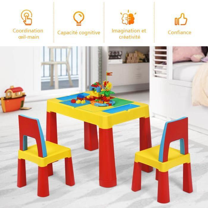 COSTWAY Table Blocs Construction 7 en 1, Table d'Activité avec 1 Table et 2 Chaises, Jouet Educatif pour Enfants de 3 à 8 Ans