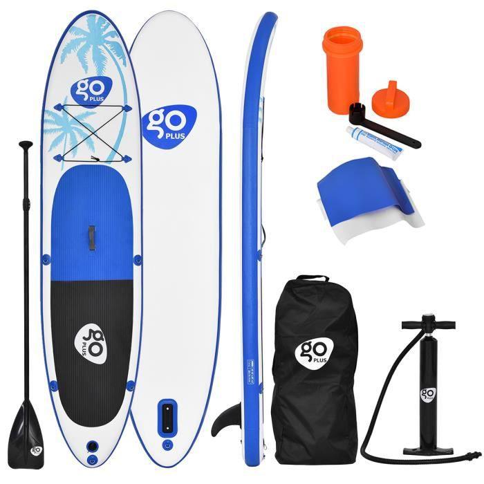 Stand Up Paddle Gonflable 330x76x15CM avec Accessoires Pagaie,Pompe Haute Pression Kit de Réparation,Leash, Aileron Amovible et Sac