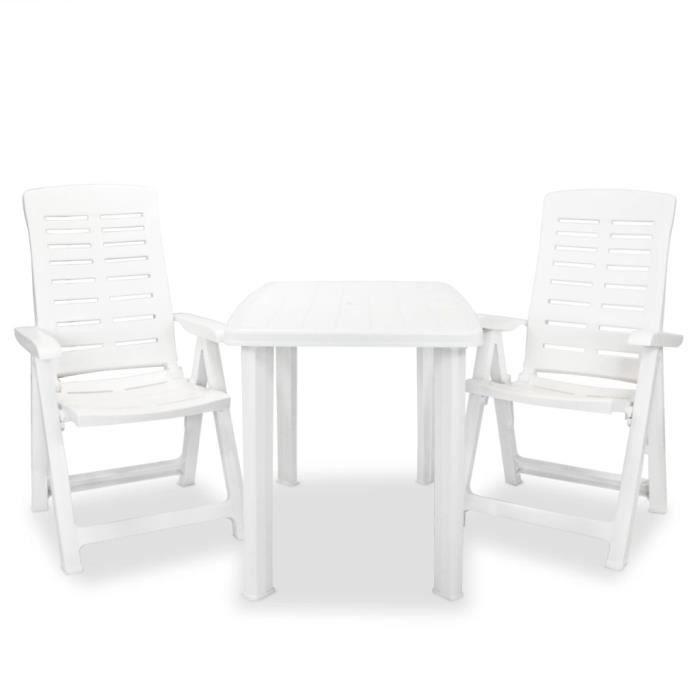 Ensemble repas de jardin 2 personnes Contemporain- Mobilier de bistro 3 pcs- Salon de Jardin Terrasse - Plastique Blanc♫9503