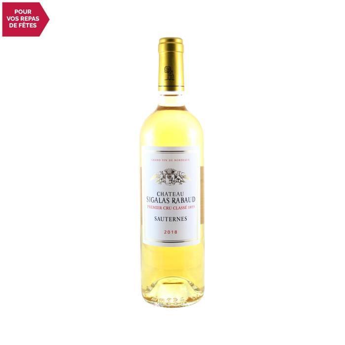 Château Sigalas Rabaud 1er Cru Classé Blanc 2018 - 75cl - Vin Doux Blanc de Bordeaux - Appellation AOC AOC Sauternes