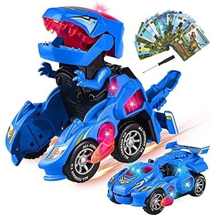Déformation voiture,Voiture Dinosaure Enfant Jouet Garcon pour Garcon 4 5 6 7 8 Ans Switch and Go Dino avec Musique et éclairage