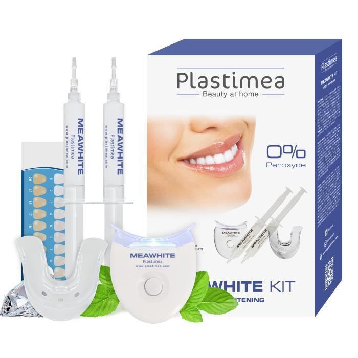 Blanchiment dentaire - Kit Meawhite 20 minutes, 3 étapes - Formule brevetée sans peroxyde - Technologie Lampe LED - Plastimea