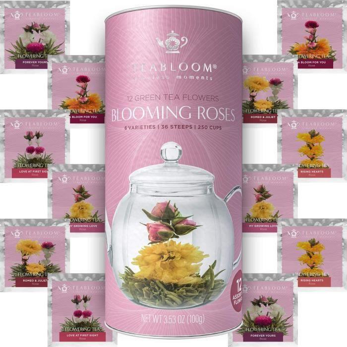 Coffret cadeau de roses de thé Teabloom - Assortiment de 12 fleurs de thé vert confectionnées à la main – Cartouche cadeau roses de
