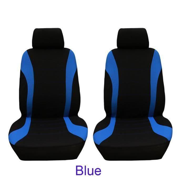 4pcs-set siège de voiture housse de protection siège confortable couvre-siège de siège avant antipoussière Bleu Noir wow7233