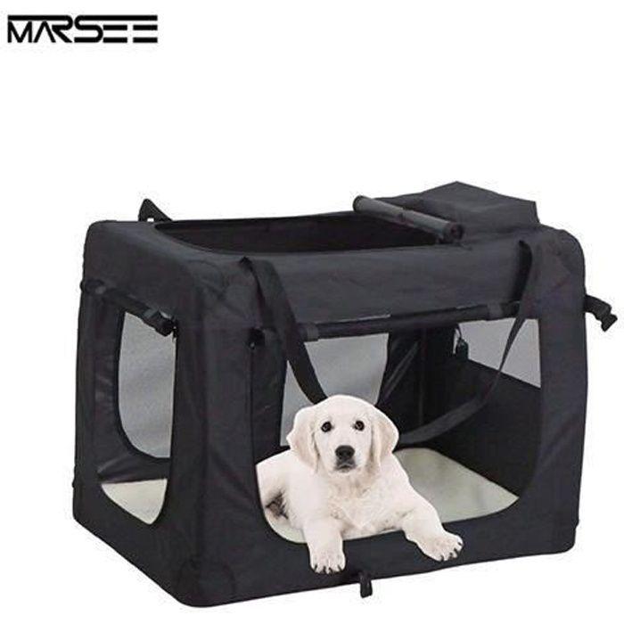 Sacs de Transport Pour Chien Chat Portable Pliable Cage de Transport Gonimal Domestique 70 x 52 x 52 cm Noir Go71811