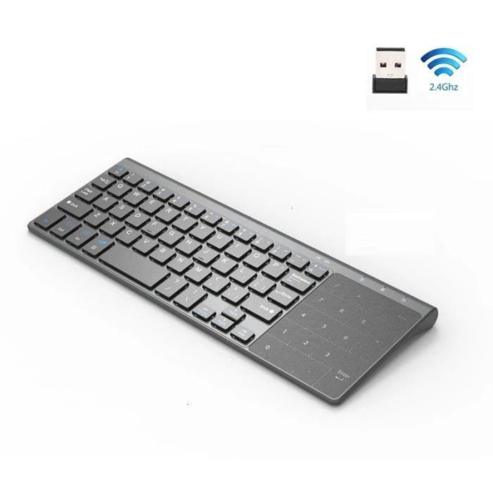 Clavier sans fil 2.4G avec pavé tactile numérique, adapté pour Android, clavier numérique sans fil Windows TV box