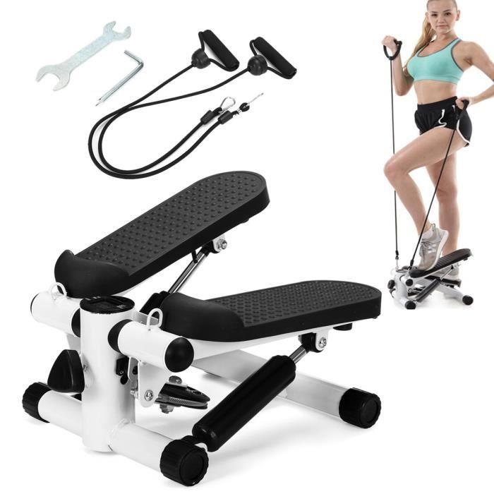 Stepper Up Down d'appartement Twister avec Cordes élastiques et écran Multifonctions pour l'aérobic et fitness Noir