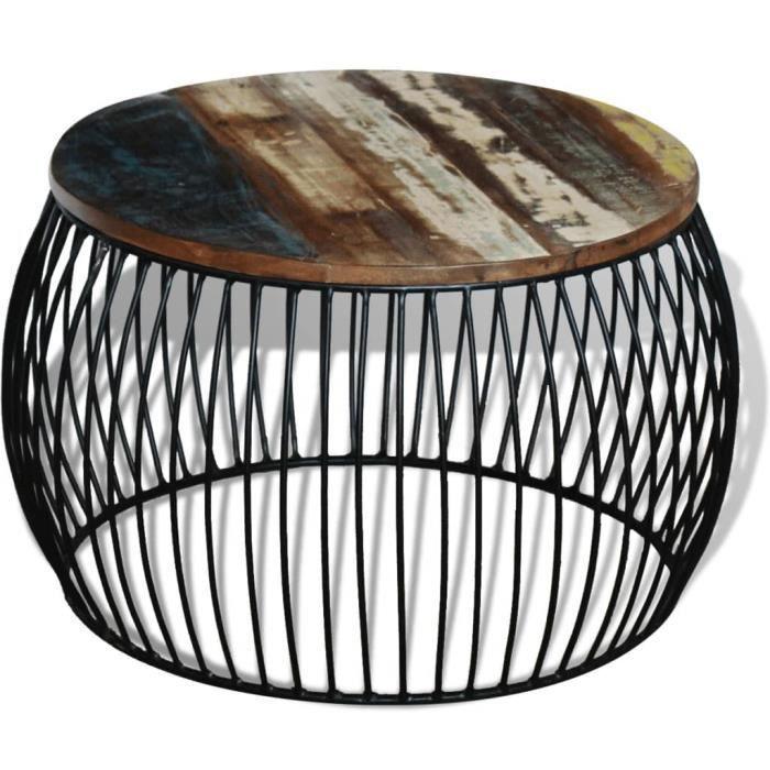 178368 - Design Furniture - Table basse Scandinave - Bout de canapé Table à thé ronde 68x43 cm Bois de récupération massif