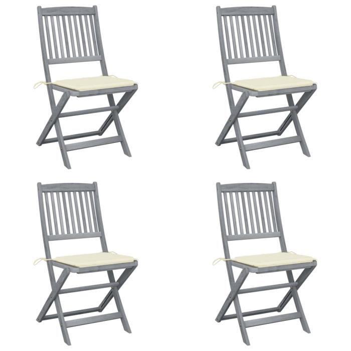 Chaises pliables d'extérieur 4 pcs avec coussins Bois d'acacia A3064565 YES14